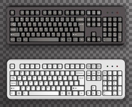 computer keyboard: Keyboard Realistic Black White Icons Symbol Transparent Background Template Vector Illustration Illustration