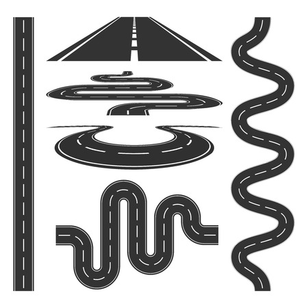 Roads and highways icons set vector illustration