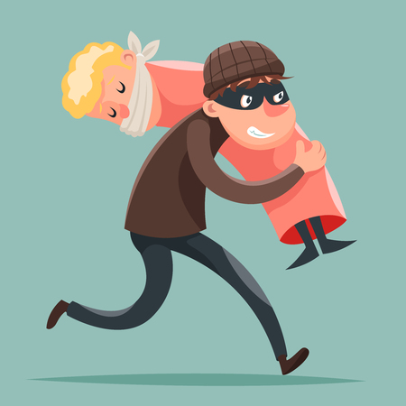 sneak: Kidnapper Running Away Hostage Character Icon Cartoon Design Template Vector Illustration