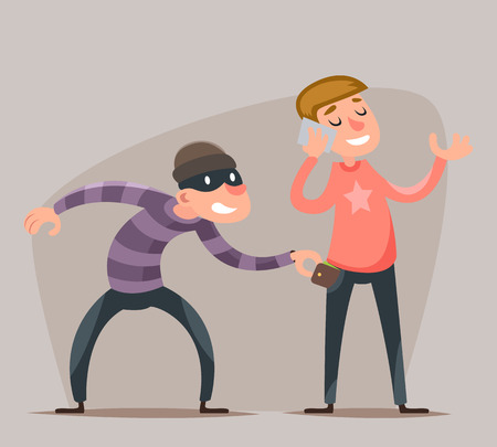 swindle: Thief Steals a Purse from  Hapless Guy Character Icon Cartoon Design Template Vector Illustration Illustration