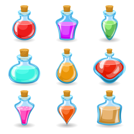 rpg: magic beverages potions poisons icons set isolated cartoon design vector illustration Illustration