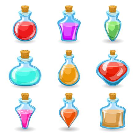 Magische dranken drankjes giftige iconen set geïsoleerde cartoon ontwerp vector illustratie Stockfoto - 68761521