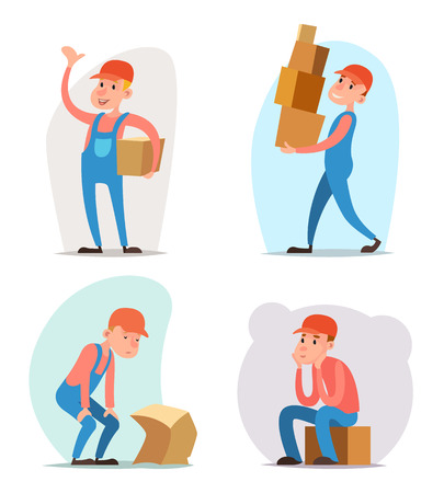 deliverer: Box Cargo Freight Loading Delivery Shipment Loader Deliveryman Character Icon Cartoon Design Template Vector Illustration