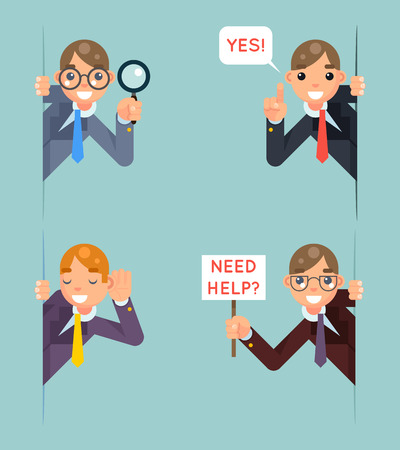 man looking out: Help Support Listen Overhear Spy Looking Out Corner Idea Cartoon Businessman Character Solution Flat Design Vector Illustration