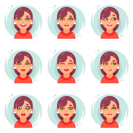 Funny emotions cute girl avatar icons set flat design vector illustration