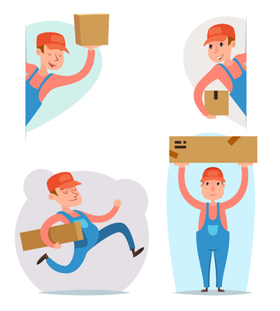 package deliverer: Cargo Freight Box Loading Delivery Shipment Loader Deliveryman Character Icon Cartoon Design Template Vector Illustration
