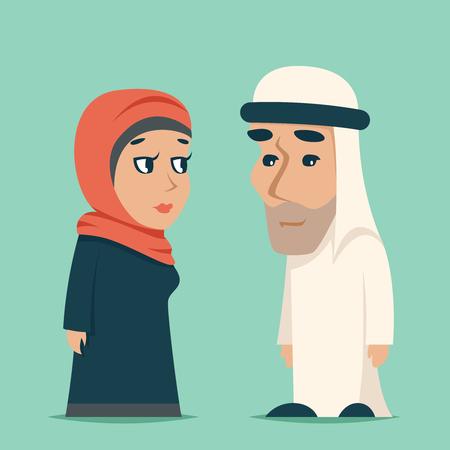 Cute Arab Male Female Family Cartoon Design Character Icons Vector Illustration