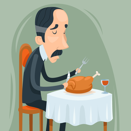 aristocrat: Gaunt Aristocrat Man Eat Roasted Chicken with Wine Character Icon on Stylish Background Cartoon Design Vector Illustration