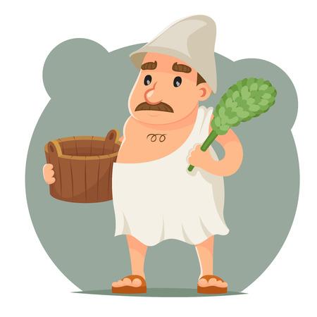 Sauna Attendant waschen Handtuch Bademantel Wanne Charakter Symbol Retro Cartoon Design Vektor-Illustration Illustration