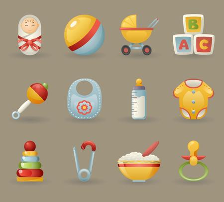 infancia: Infancia y Baby Iconos Símbolos realista de la ilustración de dibujos animados conjunto de vectores Vectores