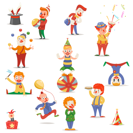 pranks: Circus Clowns Cute Funny Different Positions and Actions Character Icons Set Retro Cartoon Design Vector Illustration