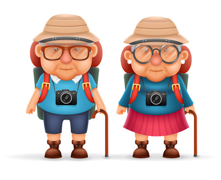 grandad: Old Backpacker Couple Photo Camera 3d Travel Realistic Cartoon Character Design Isolated Vector Illustration