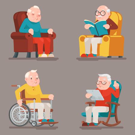 할아버지 노인 캐릭터 앉아 수면 웹 서핑 읽기 안락 의자 휠체어 성인 아이콘 세트 만화 디자인 벡터 일러스트 레이 션
