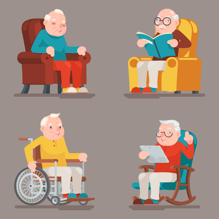 Grandfather Old Man Characters Sit Sleep Web Surfing Read Armchair Wheelchair Adult Icons Set Cartoon Design Vector Illustration