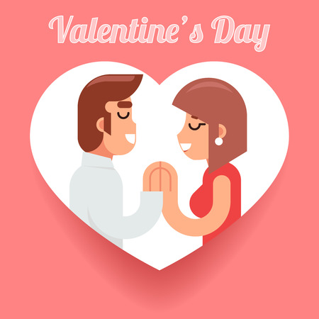 romantic woman: Valentines Day Romantic beloved dating man woman Symbol Icon Concept Isolated Flat Design Vector Illustration Illustration
