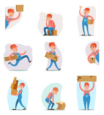 package deliverer: Deliveryman Cargo Freight Box Loading Delivery Shipment Loader Character Icon Cartoon Design Template Vector Illustration