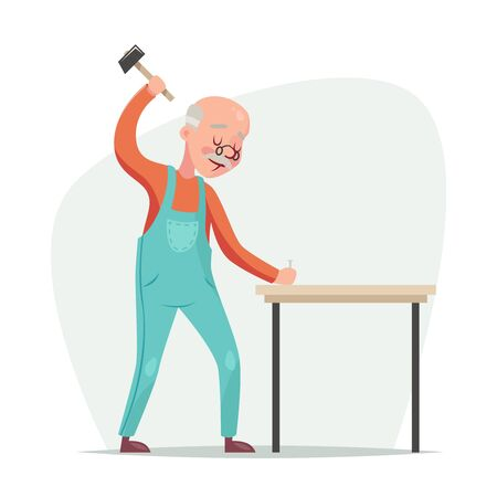 custom cabinet: Old furniture maker hammers nail in a table retro cartoon character vector illustration Stock Photo