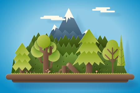 tree log: Paper Wood under Mountain Flat Design Landscape Background Template Vector Illustration