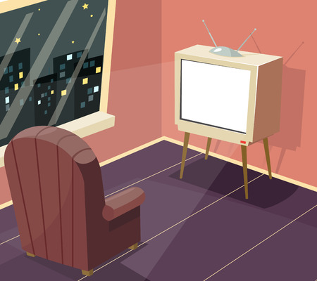 inactive: Armchair in front of TV Icon on Room Window Night City Background Cartoon Design Vector Illustration