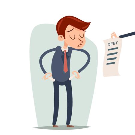 bankrupt: Debt Out of Money Businessman Cartoon Character Looking Bill Icon Retro  Design Vector Illustration Illustration