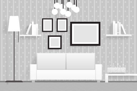 living room furniture: Interior Living Room Furniture 3d Realistic Design Vector Illustration Illustration