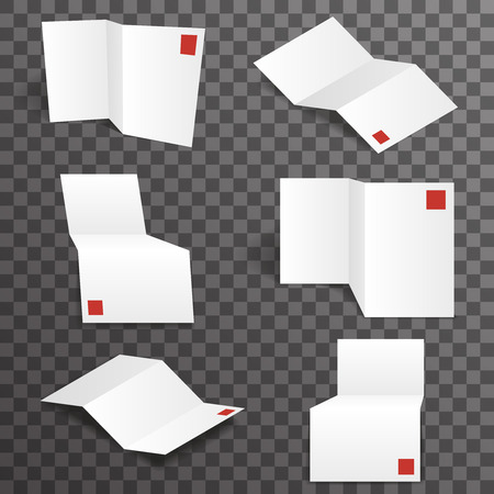 workpiece: Paper white accordion different points of view mockup template set transparent background design vector illustration