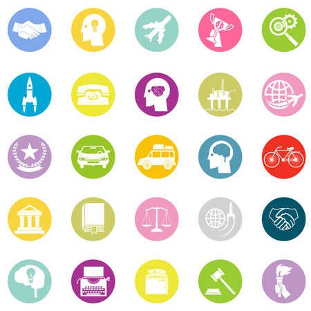 icons set: Icon Business Travel Sport law set retro flat design concept vector illustration Illustration