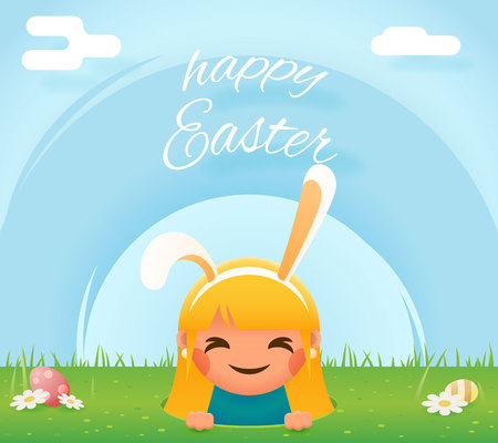 moble: Cute girl easter bunny rabbit hole egg icon sky grass background template flat moble apps design vector illustration Illustration