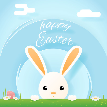 Easter bunny rabbit hole egg icon sky background template flat moble apps design vector illustration