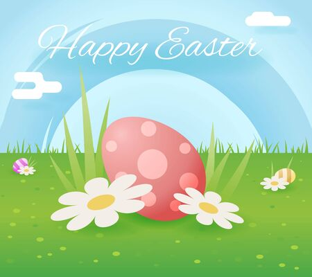 moble: Egg easter icon sky grass background template flat moble apps design vector illustration Illustration
