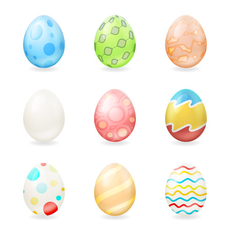 chocolate swirl: Colorful easter eggs icons isolated vector illustration