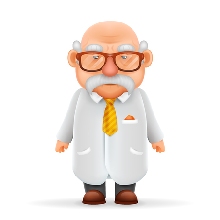 Funny Old Wise Scientist Grandfather Pointing Thumbs Up 3d Realistic Cartoon Character Design Isolated Vector Illustration Illustration