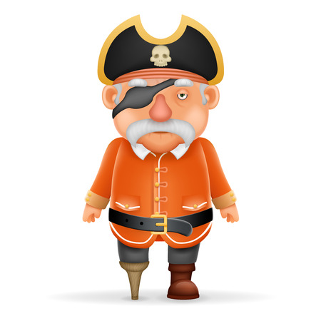 sea robber: Pirate Captain Funny Old Grandfather Pointing Thumbs Up 3d Realistic Cartoon Character Design. Illustration