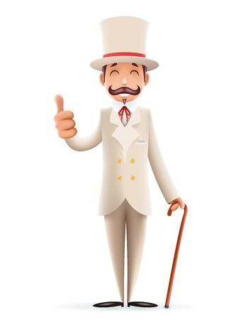 Gentleman Victorian Business Cartoon Character Icon English 3d.