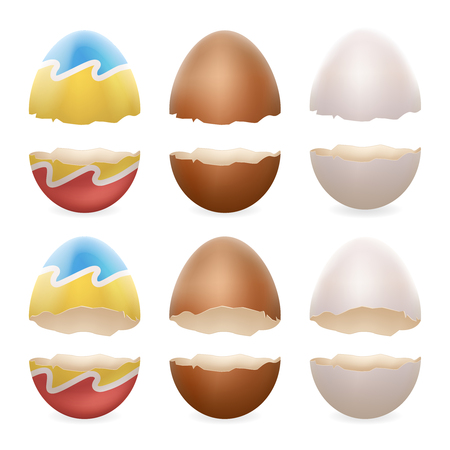 broken eggs: Broken eggs cracked open easter eggshell design 3d realistic icons set isolated vector illustration