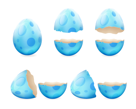 Gebroken eieren gebarsten open easter eggshell ontwerp 3d realistische pictogrammen instellen geïsoleerde vector illustratie Stockfoto - 71268907