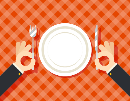 oncept: Food Restaurant Promotion Hands Cutlery Plate Fork and Knife oncept Symbol on Stylish Background Flat Design Vector Illustration