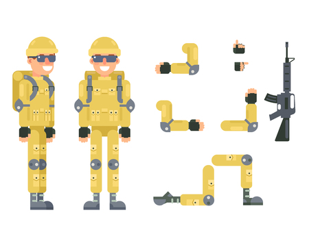 immersion: Online shooter gamer soldier immersion virtual reality living room battlefield flat design character vector illustration Illustration