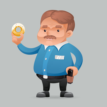 patrolman: Fat policeman security guard with donut Icon retro cartoon symbol template vector illustration Illustration