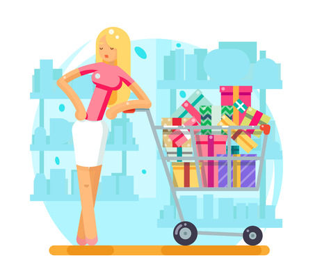 Woman with shopping cart with gifts