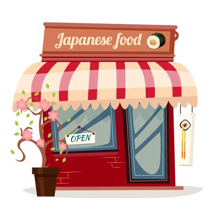 retro restaurant: Japanese restaurant retro flat concept design