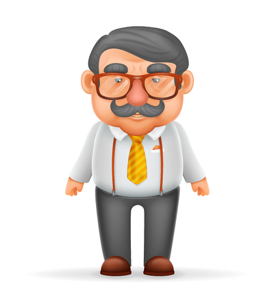 guy standing: Businessman Adult Man Mustache Suspenders Eyeglasses Geek Hipster 3d Realistic Cartoon Character Design Isolated Vector Illustration