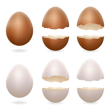 Broken eggs cracked open easter eggshell design 3d realistic icons set isolated vector illustration