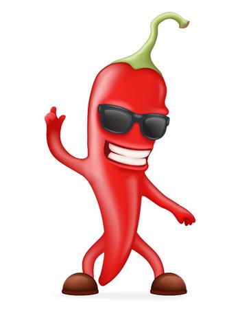 Hot Chili Pepper Sunglasses Happy Character Realistic. Illustration