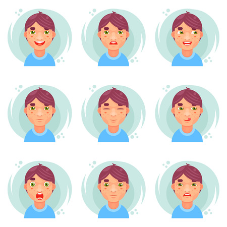 Funny emotions cute boy avatar icons set flat design vector illustration Ilustração