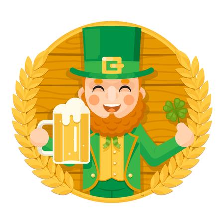Leprechaun Saint Patrick Day Celebration Clover Success and Prosperity Symbol Mug of Beer with Foam Icon on Barrel Background Greeting Card Flat Design Vector Illustration