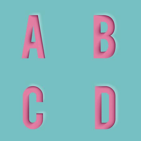 Paper Cutout Letters Realistic 3d Template Design Mock Up Vector Illustration