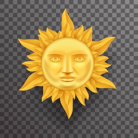 flames background: Antique Golden Sun Face Crown of Flames Realistic 3d Transperent Icon Template Background Mock Up Design Vector Illustration