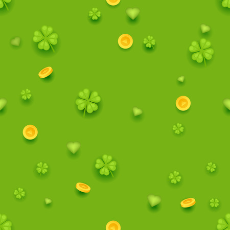 Seamless Pattern Saint Patrick Day Gold Coins Clover Green Hearts Background Greeting Card Design Vector Illustration