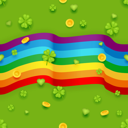 seamless clover: Seamless Pattern Saint Patrick Day Gold Coins Clover Green Hearts Background Greeting Card Design Vector Illustration